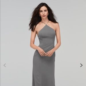 Watters gray floor length dress